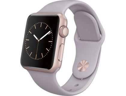 Apple - Apple Watch Sport 38mm Rose Gold Aluminum Case - Lavender Sport Band - Angle Zoom
