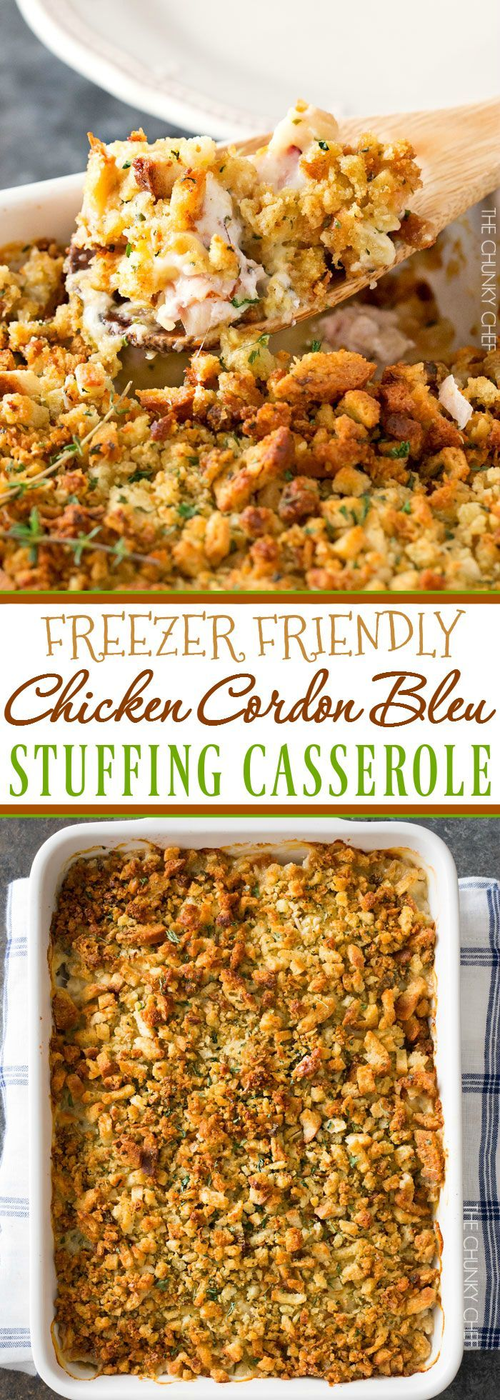 Chicken Cordon Bleu Casserole | A one pan family style casserole full of chicken, ham, swiss cheese, creamy herb sauce and savory stuffing! | http://thechunkychef.com