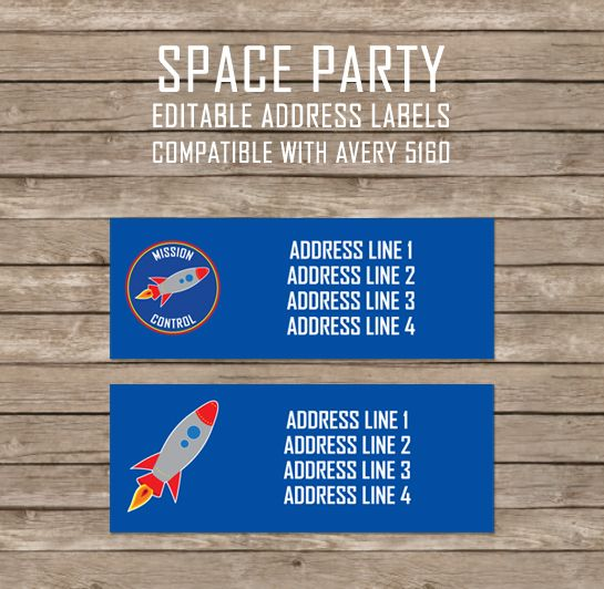 FREE Space Party Editable Address Labels