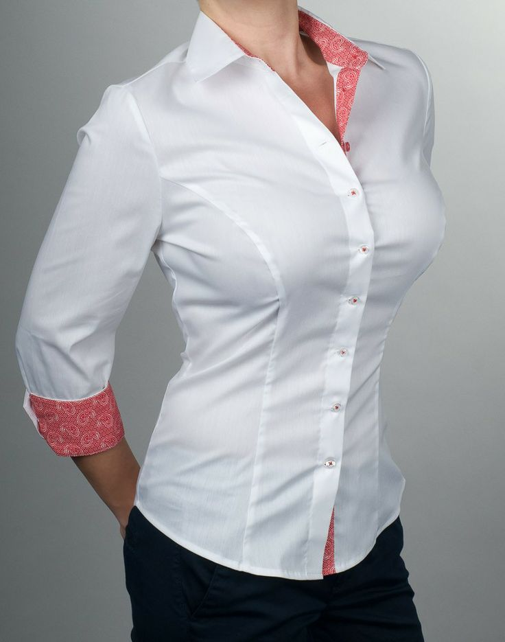 Victoria - Bluse 3/4-Arm-Bluse, Weiß-Rot  Button down shirt for the uber busty $114