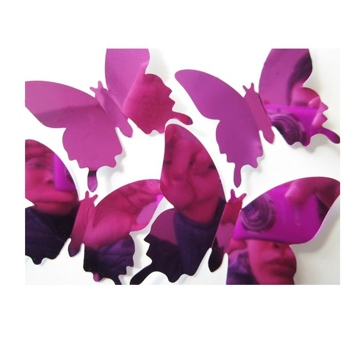 12pcs/set New Arrive Mirror purple 3D Butterfly Wall Stickers Party Wedding Decor DIY Home Decorations #Affiliate