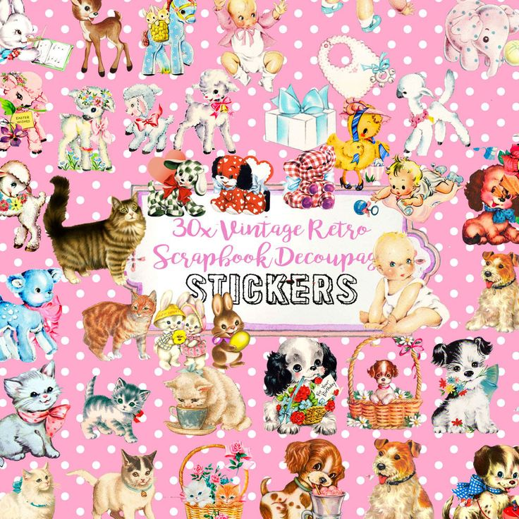 Retro Vintage Animal Cute Stickers,Vintage ephemera,Scrapbook Decoupage in Crafts, Scrapbooking & Paper Crafts, Scrapbooking | eBay!