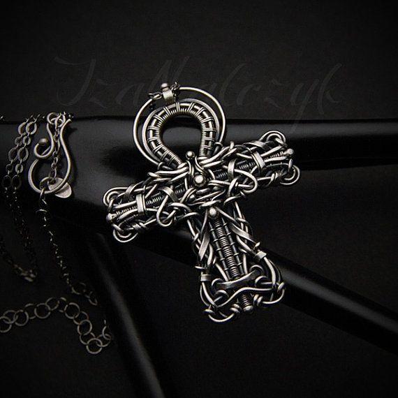 Crux Ansata - unique Ankh symbol silver pendant by Iza Malczyk