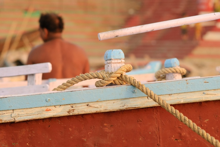Rope anchored on the boat
