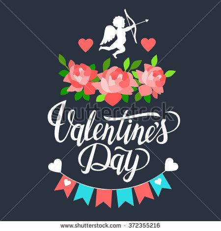 Valentine's Day set with text Valentine's Day. Typography. Vector illustration of Valentine Greeting Card elements with heart, flowers, cupid.