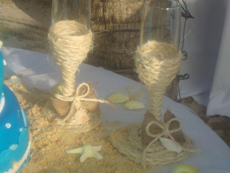 copas decoradas para la  playa
