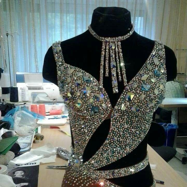 .latin crystal bodice design cutaway dress