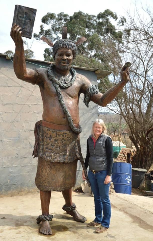 King Sobhuza 1 - 3m high bronze sculpture. With my finished bronze sculpture - ready to be transported to Swaziland — in Manzini, Swaziland. www.sarahrichards.co.za #bronzebabe #sarahrichards