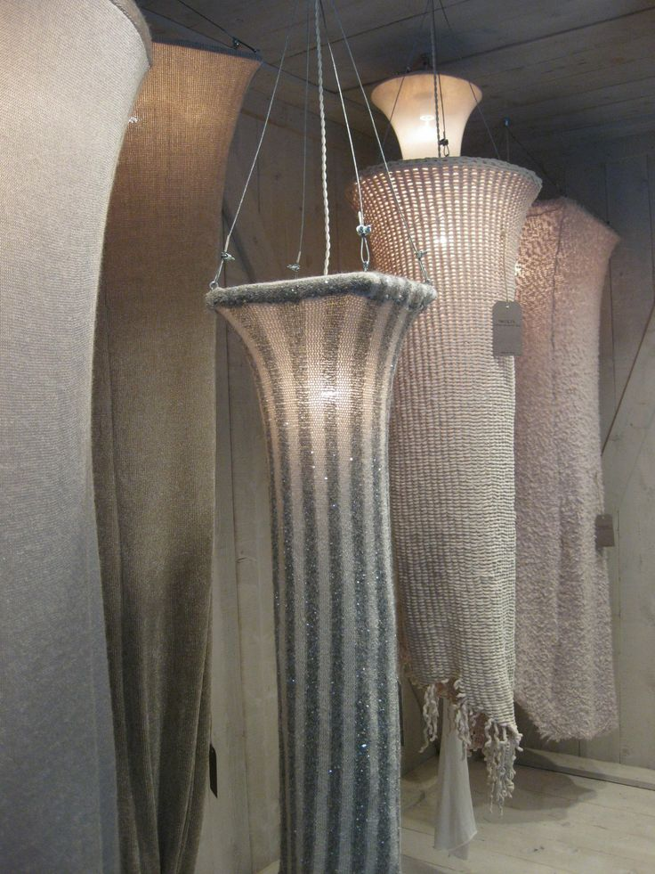 knitted lamps. How spectacular would this be in a glass stairwell