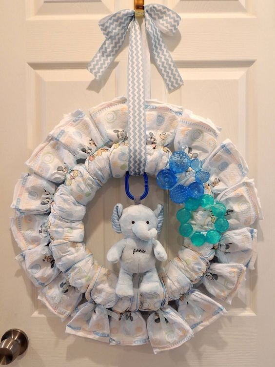 Diaper Wreath! Winter 'Baby It's Cold Outside' themed for a friend's Baby {boy} Shower. Size 3 Huggies. This one