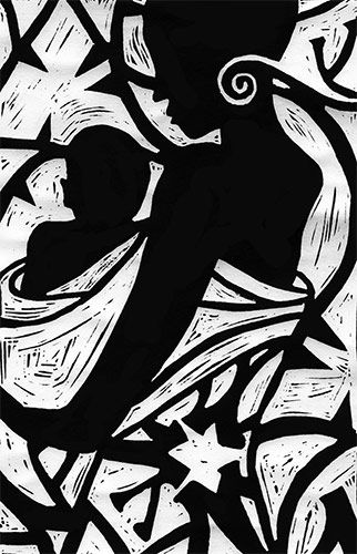 Linocut print of an African woman and child.