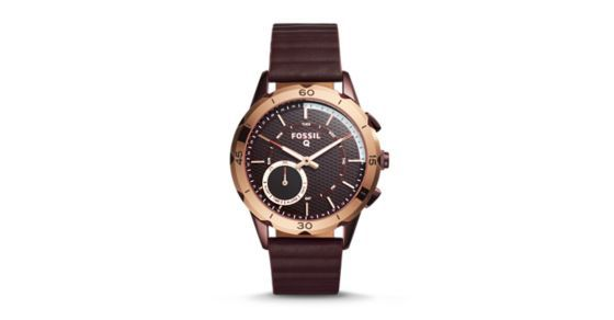 """Designed for the everyday (tom)girl, our athleisure Q Modern Pursuit hybrid looks like a watch, but acts like a smartwatch. Powered by the Fossil Q App, Fossil Q Hybrid Smartwatches are compatible with phones running Android™ OS 5.0+ or iPhone 5/iOS 9.0+.Q App is provided by Fossil Group, Inc. so your data will be stored in the USA. See the Q App Privacy Policy and Terms of Use for more information (accessible below at """"Customer Care"""")."""
