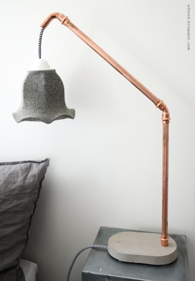 DIY Betong och Kopparlampa : DIY Concrete and Copper Lamp [with Shrunken Wool Sweater Lampshade]    DIY Mormorsglamour    Sköna Hem