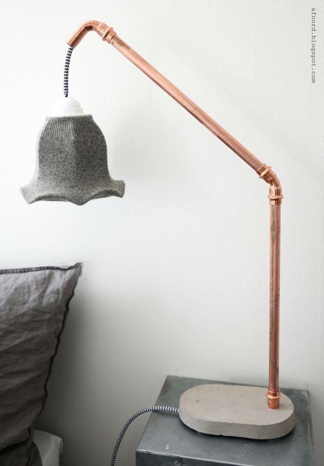 DIY Betong och Kopparlampa : DIY Concrete and Copper Lamp [with Shrunken Wool Sweater Lampshade] || DIY Mormorsglamour || Sköna Hem