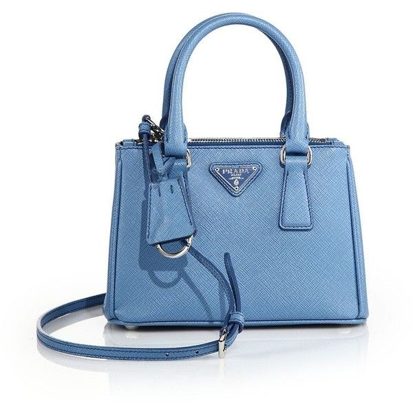 Prada Mini Saffiano Leather Double-Zip Tote (49,040 THB) ❤ liked on Polyvore featuring bags, handbags, tote bags, apparel & accessories, prada tote bag, blue tote bag, tote purse, mini cross body purse and prada purses