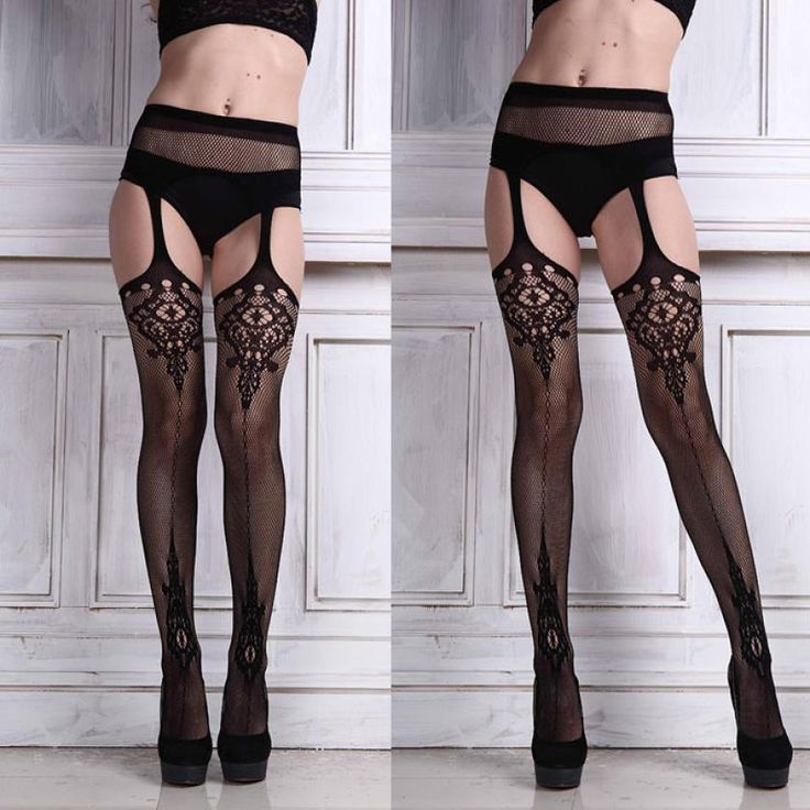 2015 Fashion Women Vintage Tights Sexy high waist Lingerie net Lace Top Garter Belt Thigh Stocking Pantyhose for female
