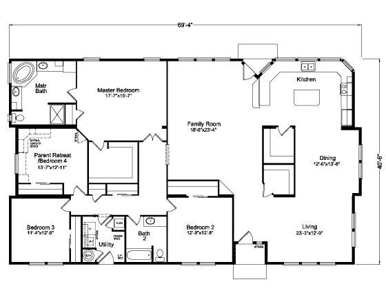 NEEDS MODIFICATIONS The Mt. Ashland 5V468E6 Floor Plan | Manufactured  And/or Modular Floor