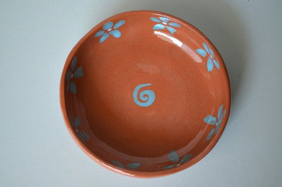 Handbuilt Spanish terracotta dish with blue by fourblueowls, €15.00