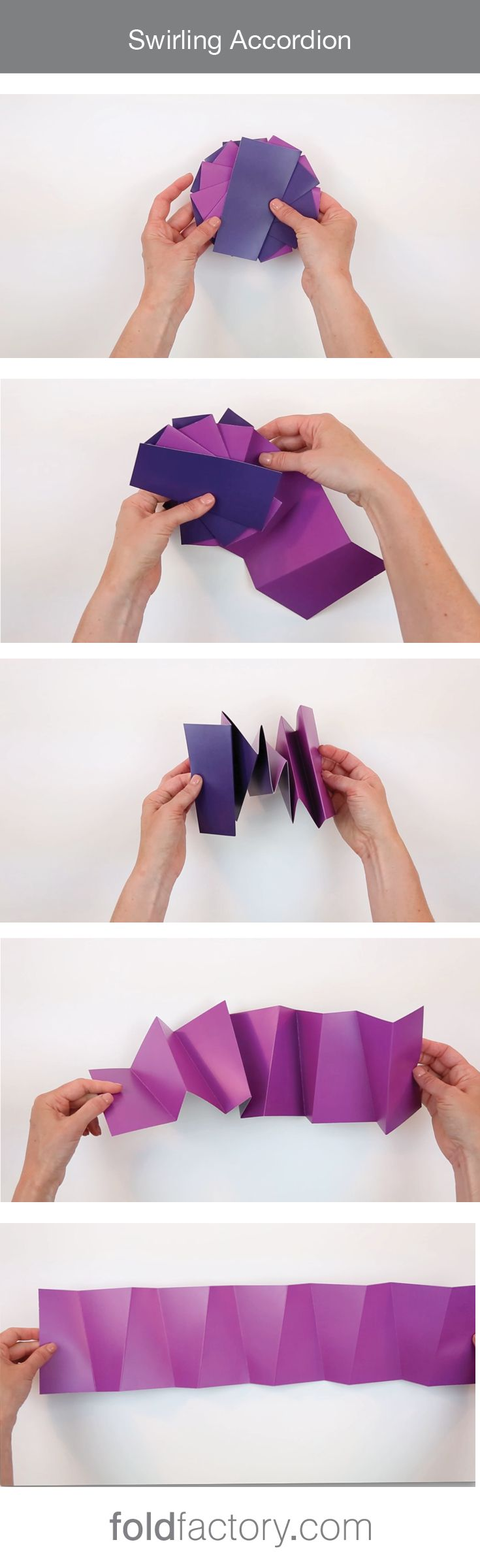 The Swirling Accordion fold is both simple and surprising in its reveal. The finished format is circular in shape, however the unfolded shape is rectangular, which offers a more practical use of space for the content. Swirling accordions are fun to design and unfold, and intuitively fold back into place as the angled scores work in unison to swirl the panels around.Uses: #SpecialEvents #Promotion #Marketing #DirectMail