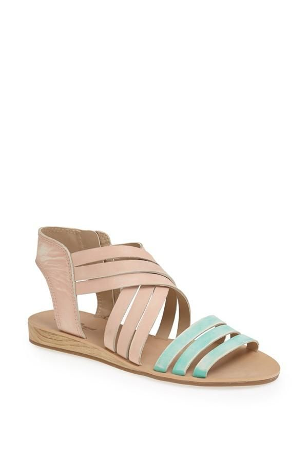 Adore this pair of mint and pink strappy sandals.