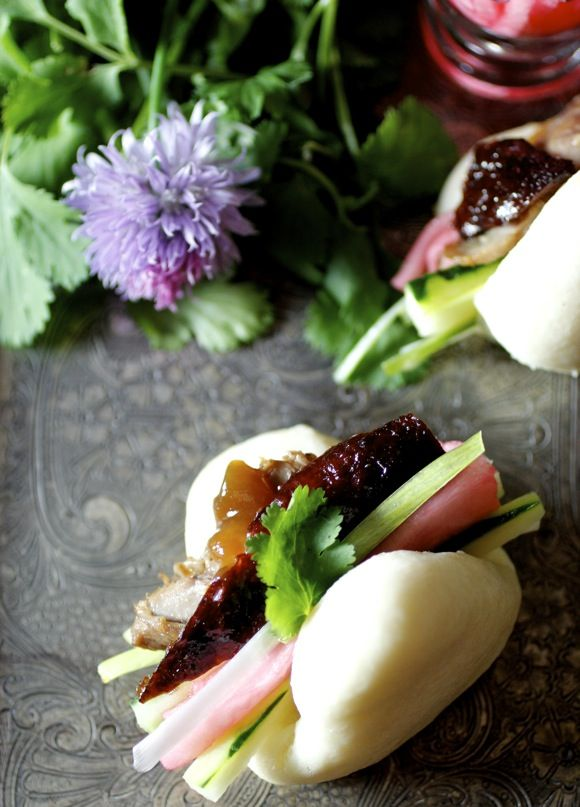 Peking Duck with Steamed Buns, Scallion, Pickled Daikon, Cucumber, Sugar & Hoisin | Taste with the Eyes