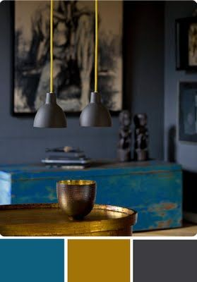 Teal, Gold, and Graphite - LOVE this color scheme.  These are gonna be my bedroom colors.