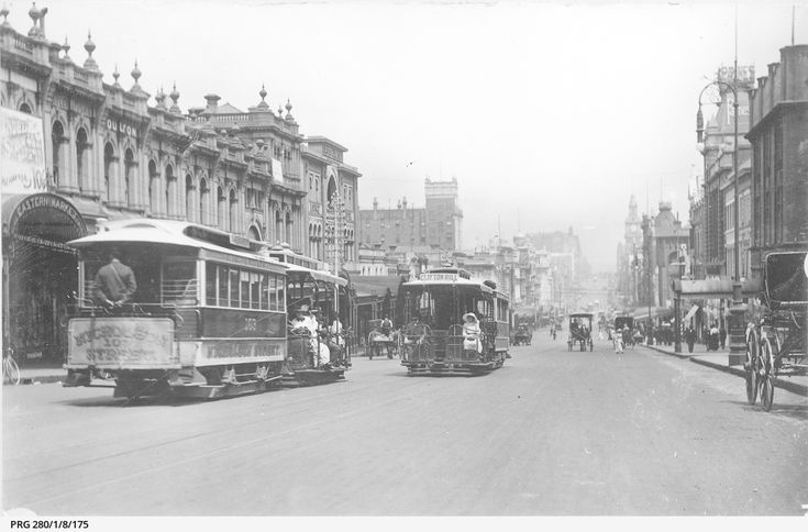 Looking west along Bourke Street, Melbourne, with cable trams, c1914. The Eastern Markets are on the left. Photograph courtesy State Library of South Australia (PRG 280/1/8/175).