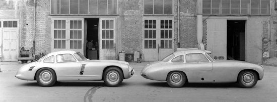 Mercedes-Benz #300SL (W 194 series) with chassis number W 194 011. Racing prototype developed for the 1953 racing season. However, this prototype never raced. Here compared with a 1952 300 SL (W 194 series) racing car. Pic source: http://www.mercedesheritage.com/2012/08/mercedes-classic-center-at-monterey-2012/