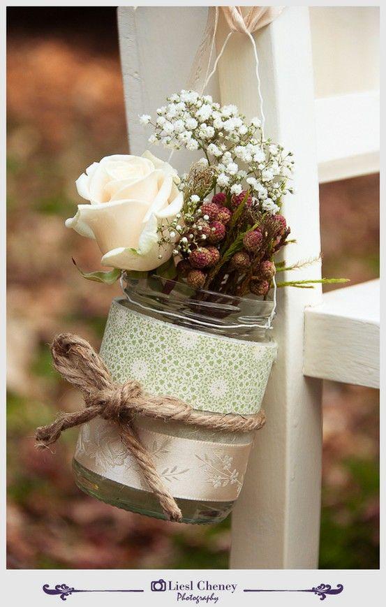 mason jars - so pretty: Masons, Decoration, Pew Decor, Wedding Ideas, Cute Ideas, Chairs Decor, Flowers, Church Pew, Mason Jars