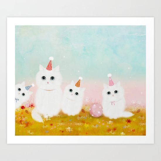 Birthday Kittens Art Print by Danse De Lune - $22.88