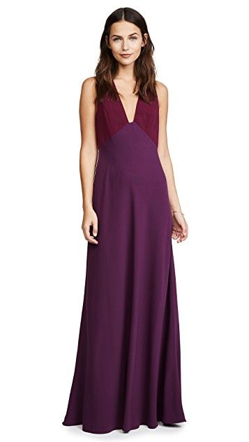 Jill Jill Stuart V Neck Two Tone Gown