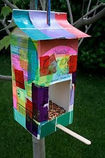 Homemade Milk Carton Bird Feeder from Pink and Green Mama