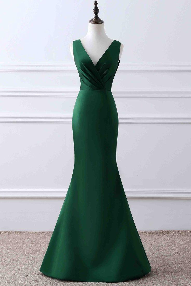 Simple green matte satin prom dress, ball gown, elegant v-neck long dress for prom 2017