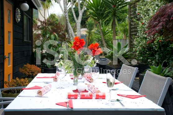 Christmas Table Setting, New Zealand royalty-free stock photo
