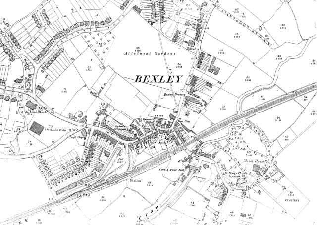 Map of Bexley Village, Bexley, 1897