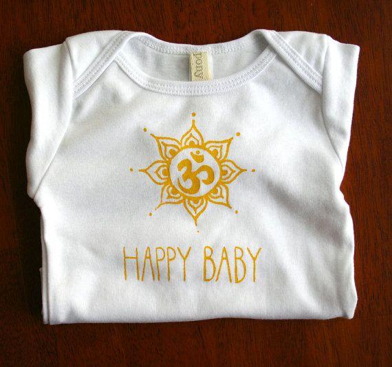 For the littlest yogi. Happy Baby. Om. Yoga. Bodysuit. Screen print. Baby shower gift. Christmas gift. Holiday.