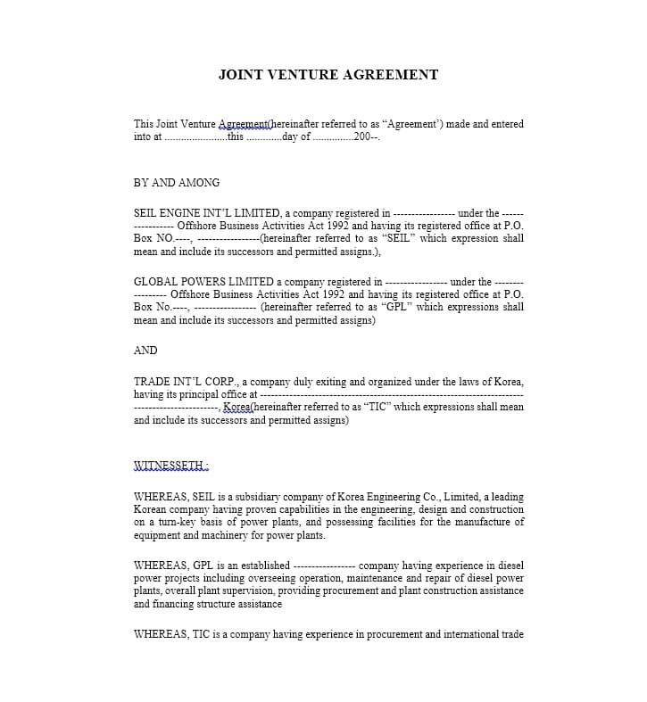 15 Joint Venture Agreement Templates Joint Venture Good Essay