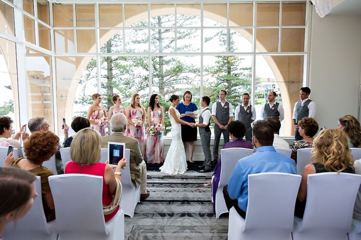 Kris and Shannon are married in Lord Ashley lounge at Crowne Plaza Terrigal. Photo courtesy of Lisa Lent photography. #wedding #ceremony #beachsidewedding