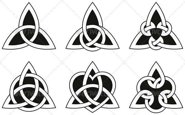 Celtic Triangle Knots - Decorative Symbols Decorative