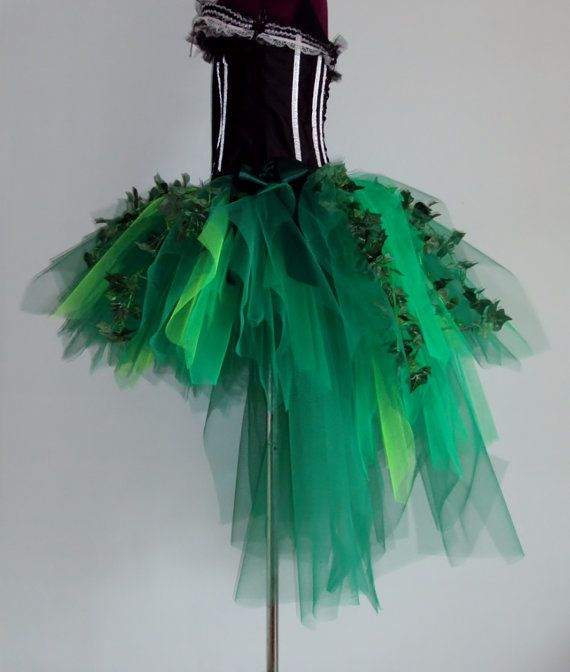 Poison Ivy Katy Perry inspired Burlesque Tutu Skirt with Silk Ivy Leaves Please chose size at checkout