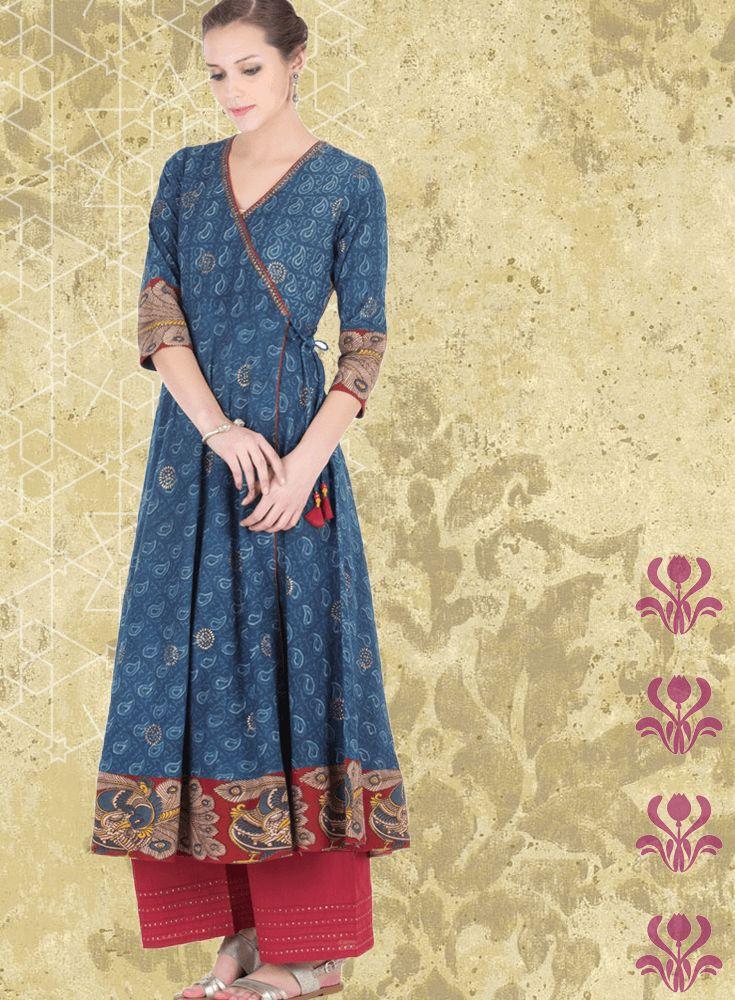Handblock Kalamkari Anarkali with rogan print by Farida Gupta. #indianwear #suits