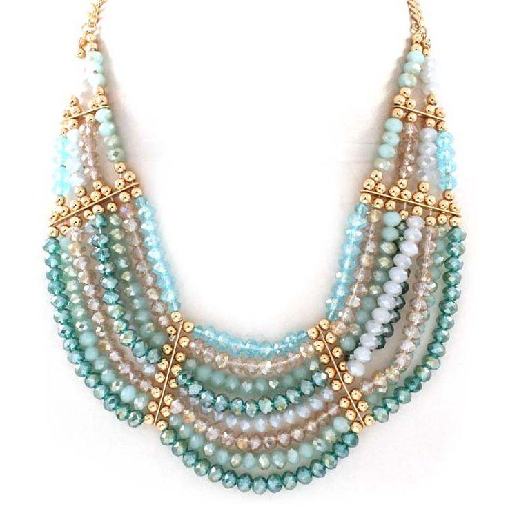 Crystal Dakota Necklace in Teal Vitrail on Emma Stine Limited