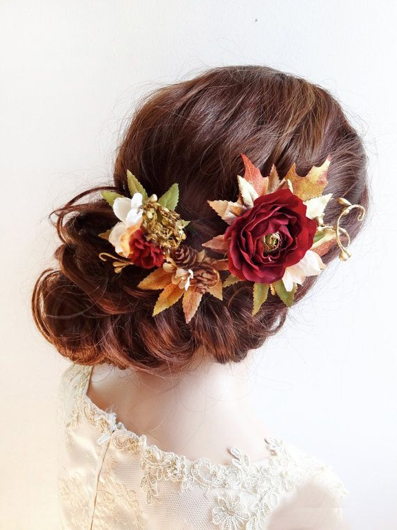 fall hair accessories, fall hair clip, burgundy hair flower, autumn floral hair piece, orange, bridal headpiece, fall wedding hair accessory