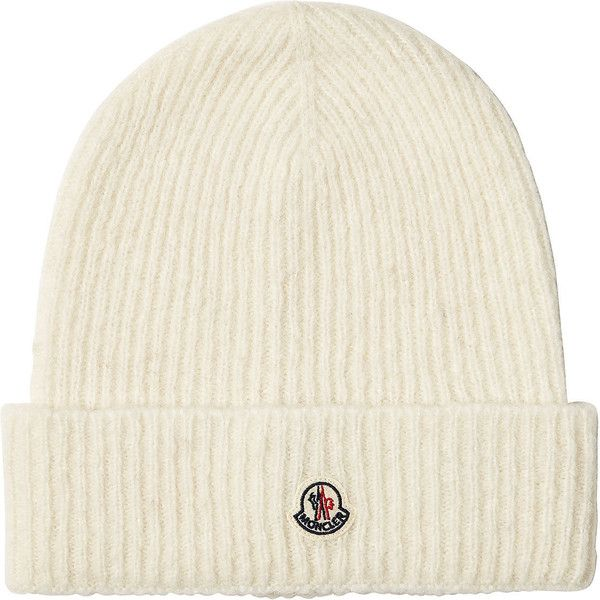 Moncler Beanie (2.360 NOK) ❤ liked on Polyvore featuring accessories, hats, white, beanie cap hat, beanie hat, cold weather beanie, white beanie hat and moncler beanie