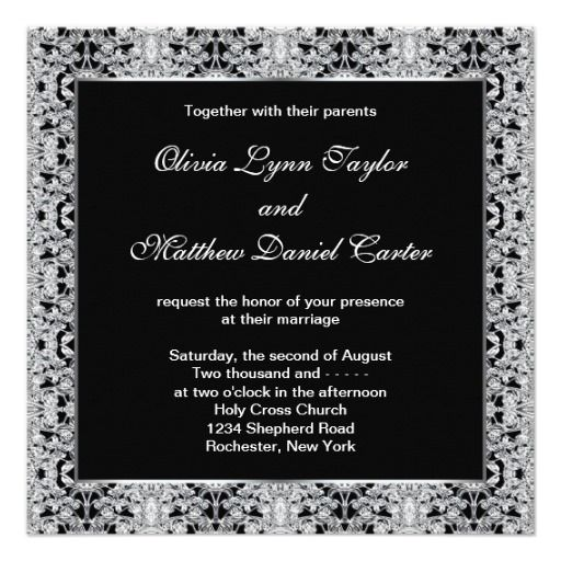 black white silver lace wedding announcements
