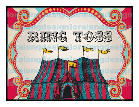 DIY Printable EDITABLE pdf  Vintage Carnival Circus Game Sign- I bought this and it was great!
