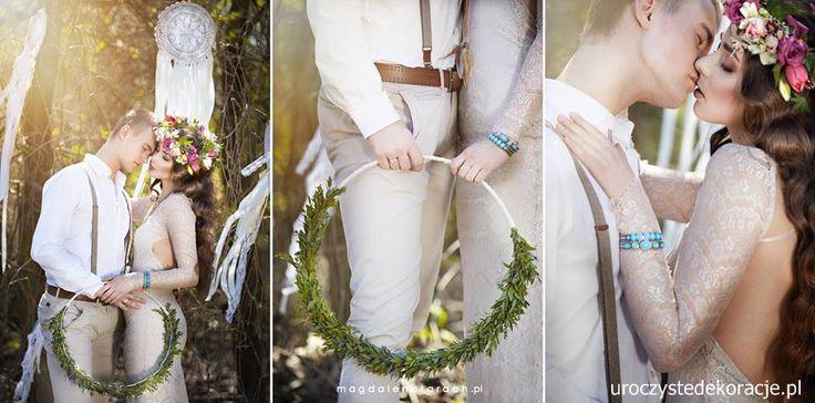 Dekoracje w stylu boho. Slub, wesele boho. Boho wedding. Scenografia. www.uroczystedekoracje.pl  Foto. http://www.magdalenatarach.pl/