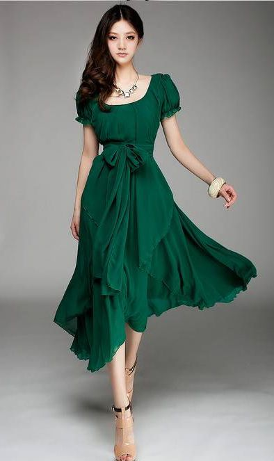 Irregular hem full- skirted chiffon dress #ahaishopping