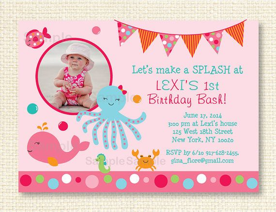 Pink Under the Sea Birthday Invitation by LittlePrintsParties, $12.00