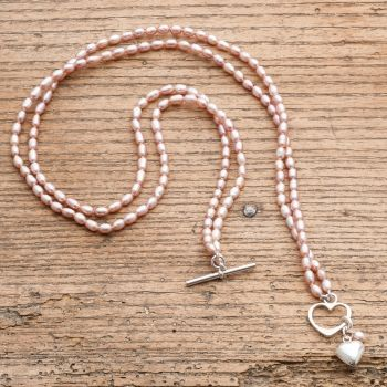 Victoria Jill Double Strand Pink Rice Pearl Necklace